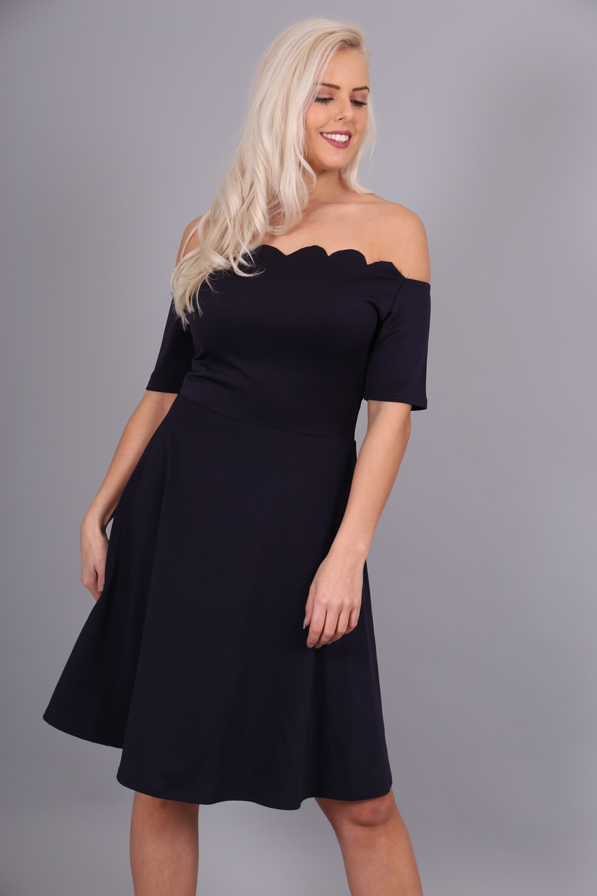 Navy Scallop Off Shoulder Skater Dress