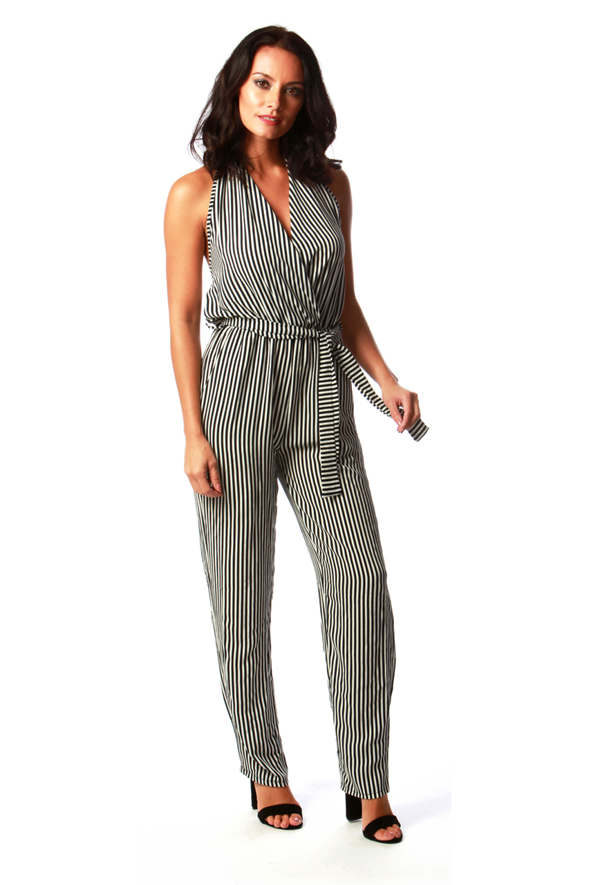 Navy and White Monochrome Jumpsuit
