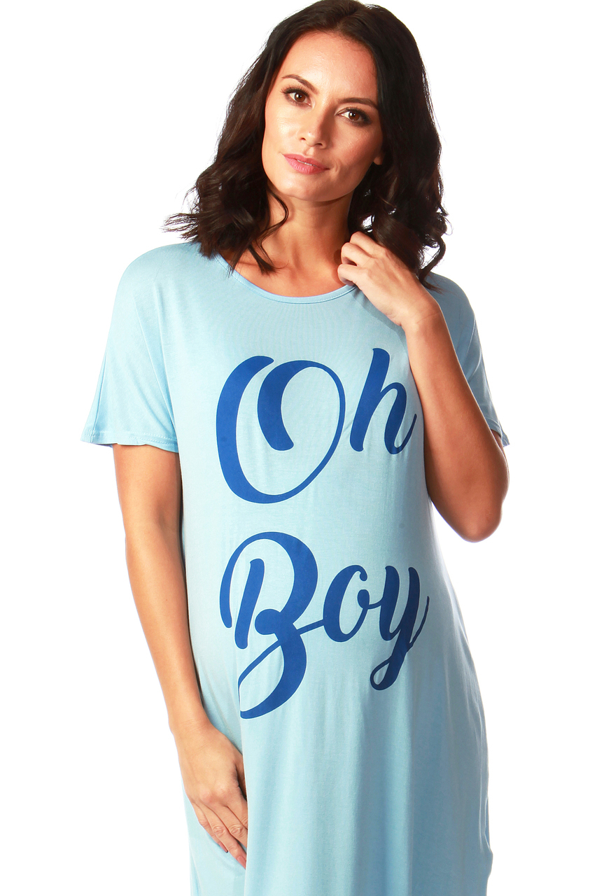 "Maternity Blue ""Oh Boy"" Slogan Nighty"