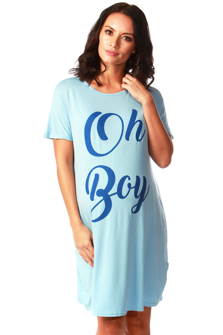 "Maternity Blue ""Oh Boy"" Slogan Nighty"