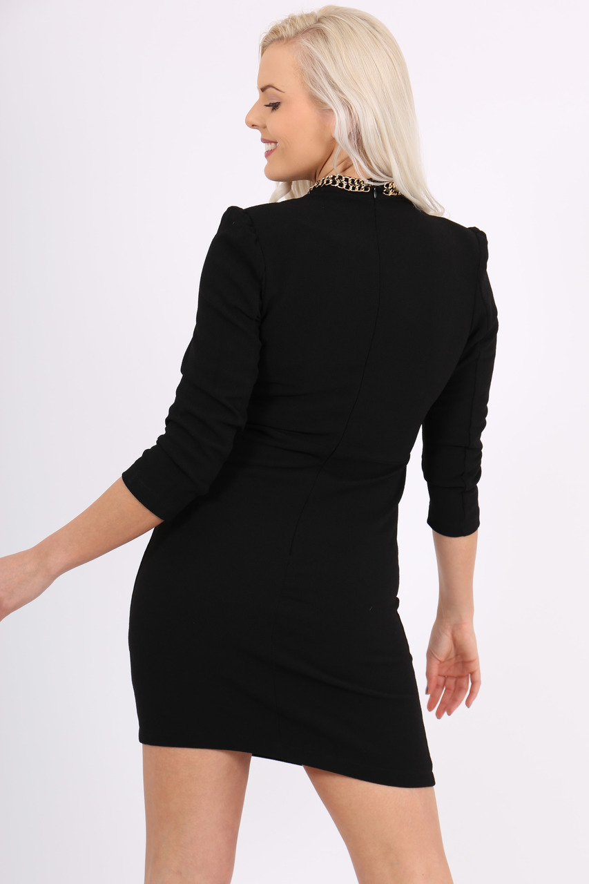 Flavia Black Chain Tunic Dress