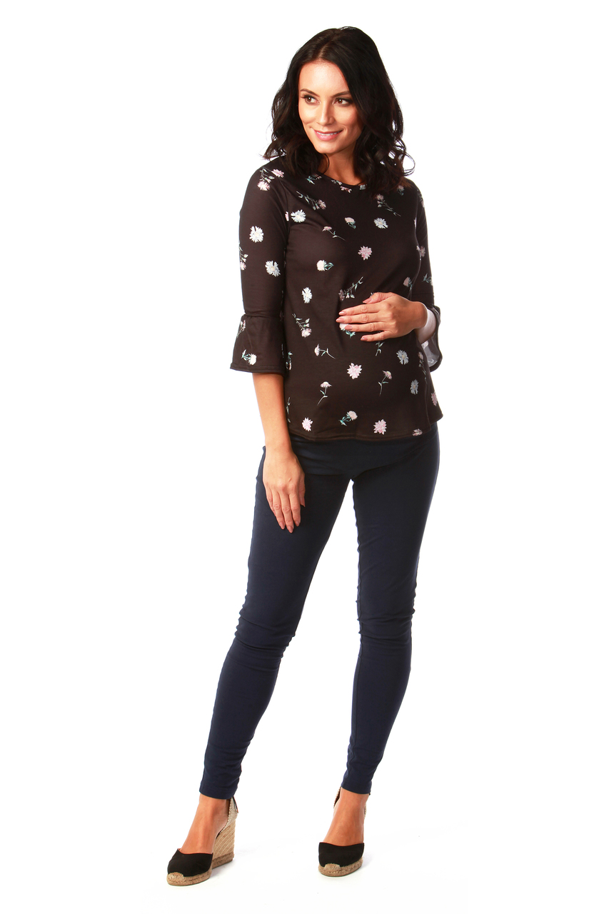 Black Meadow Maternity Flute Top