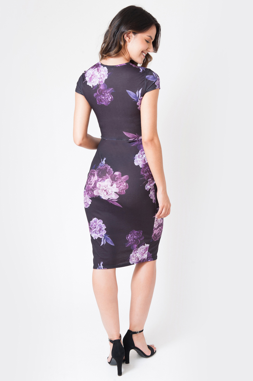 Black Nahla Maternity Twist Front Detailed Floral Midi Dress
