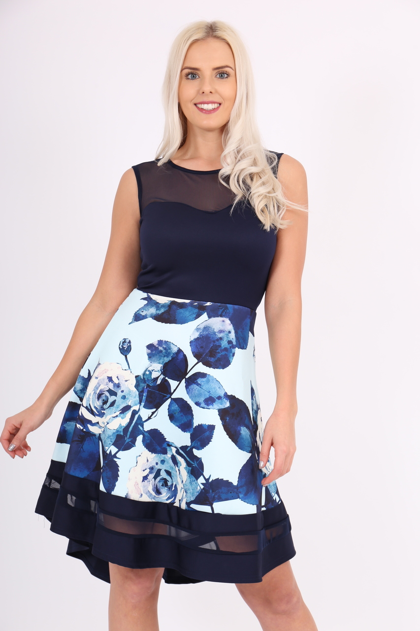Aliza Mesh Dip Hem Skater Dress
