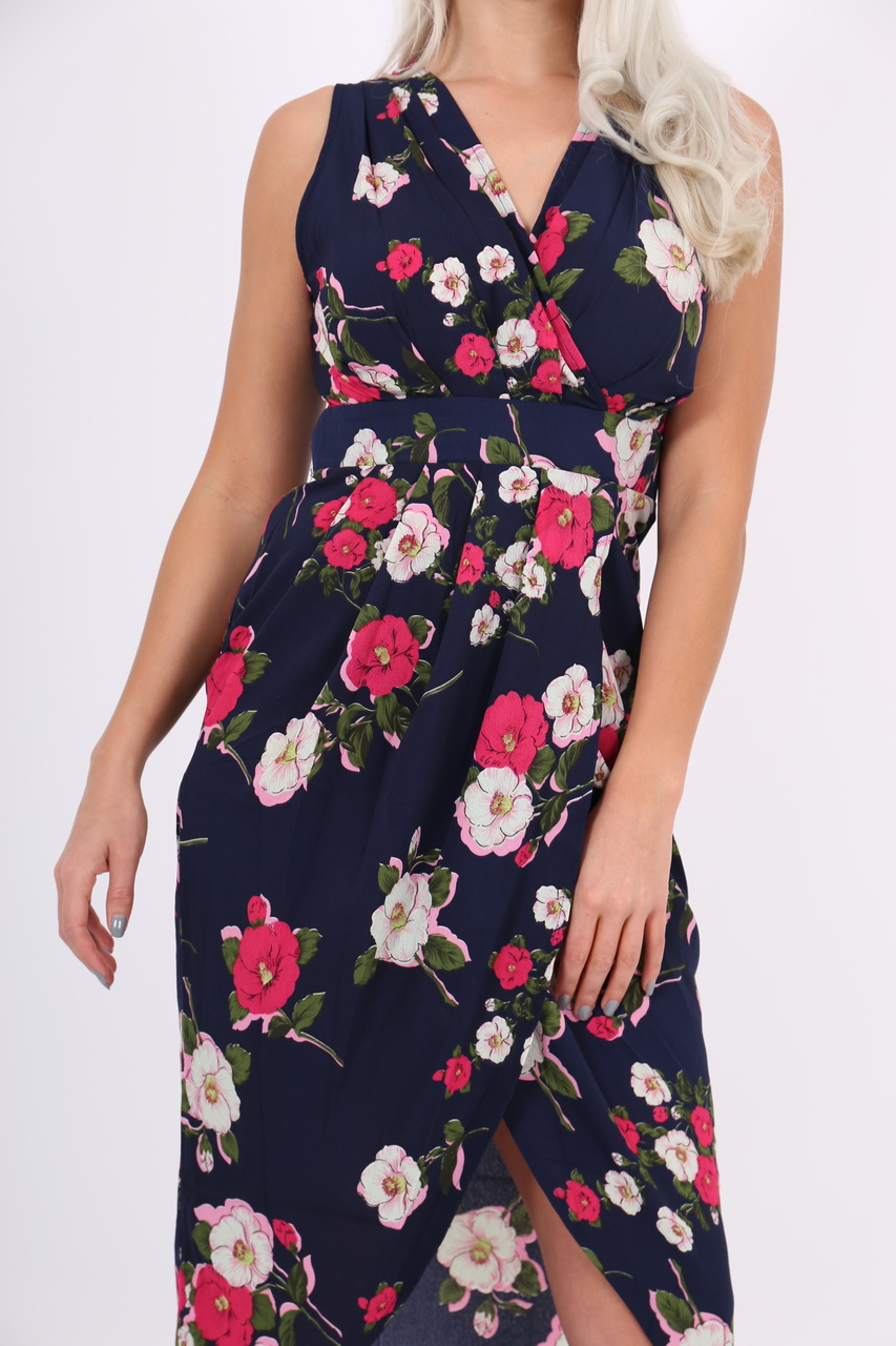 Navy Floral Tricia Wrap Over Dress