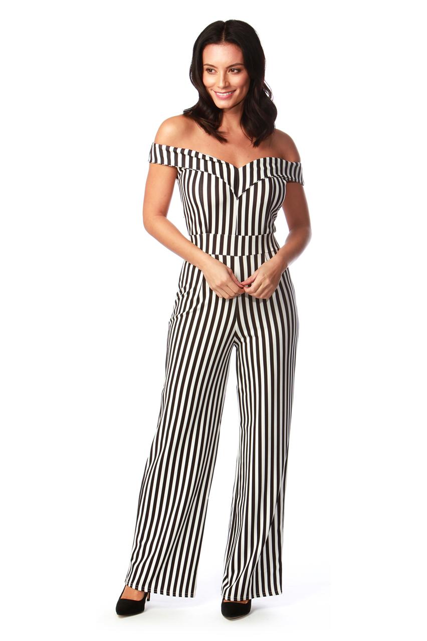 Tania Monochrome Off Shoulder Jumpsuit