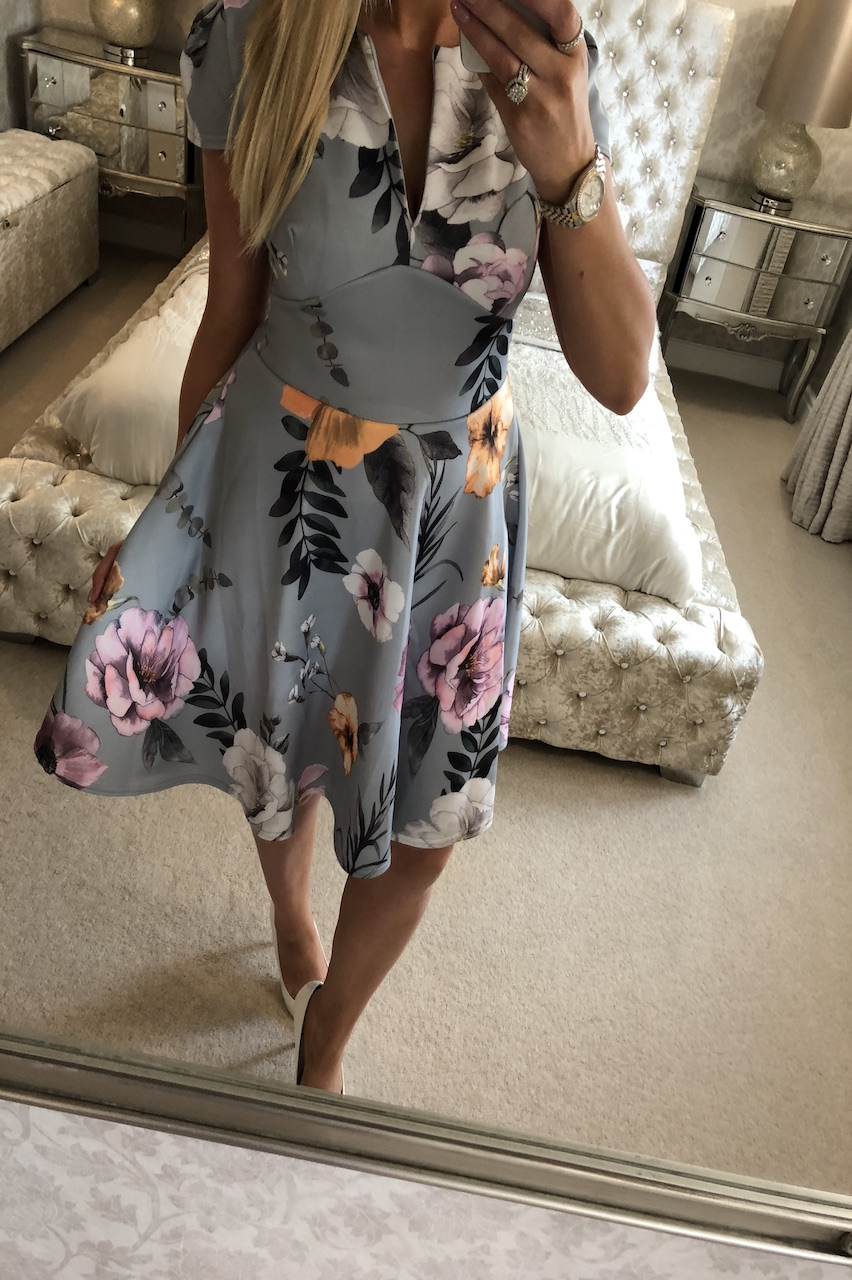 Grey Santiago Floral Keyhole Skater Dress