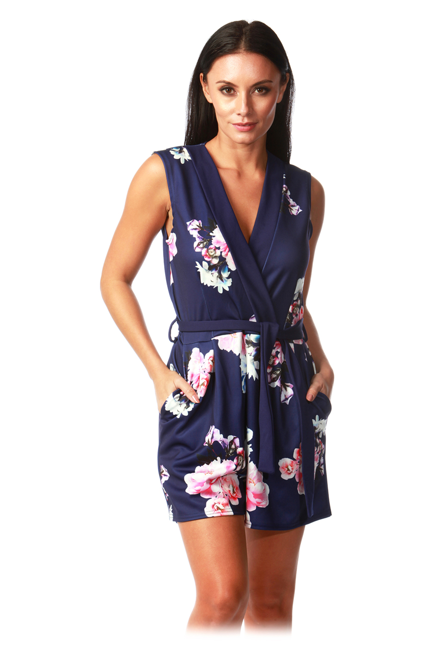 Brittany Navy Floral Playsuit