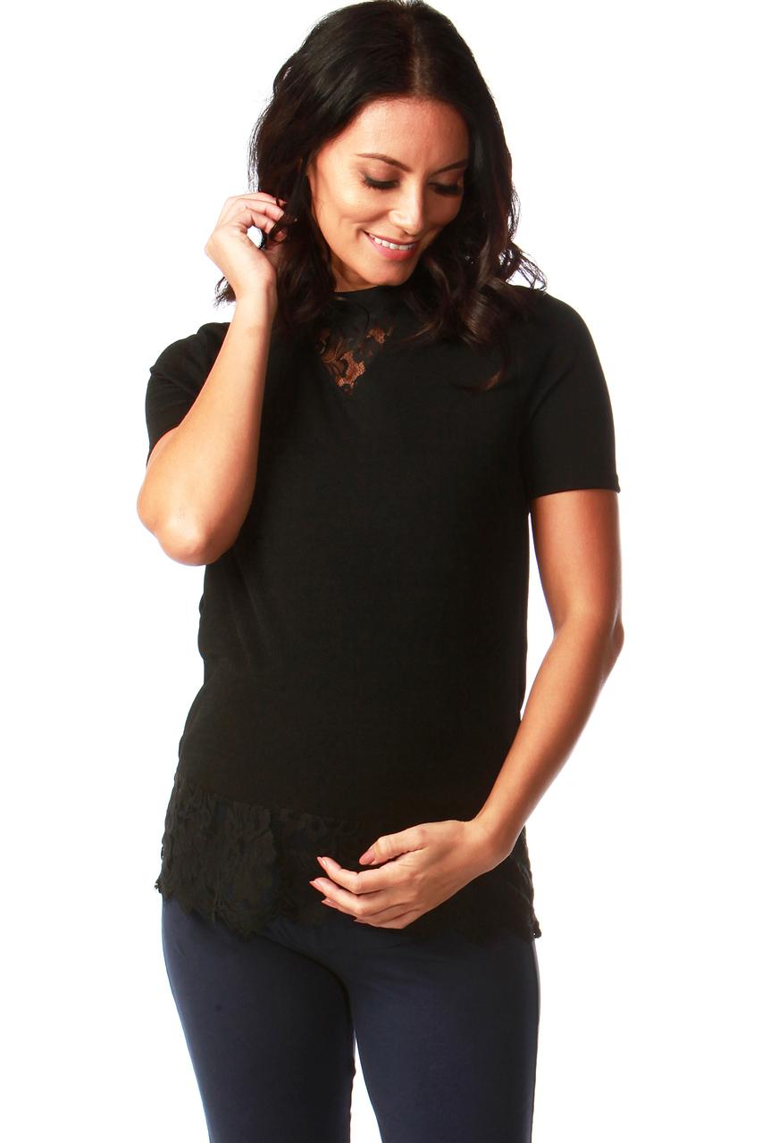 Maternity Black Lace Scallop Trim Top