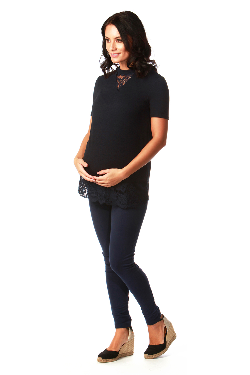Maternity Navy Lace Scallop Trim Top