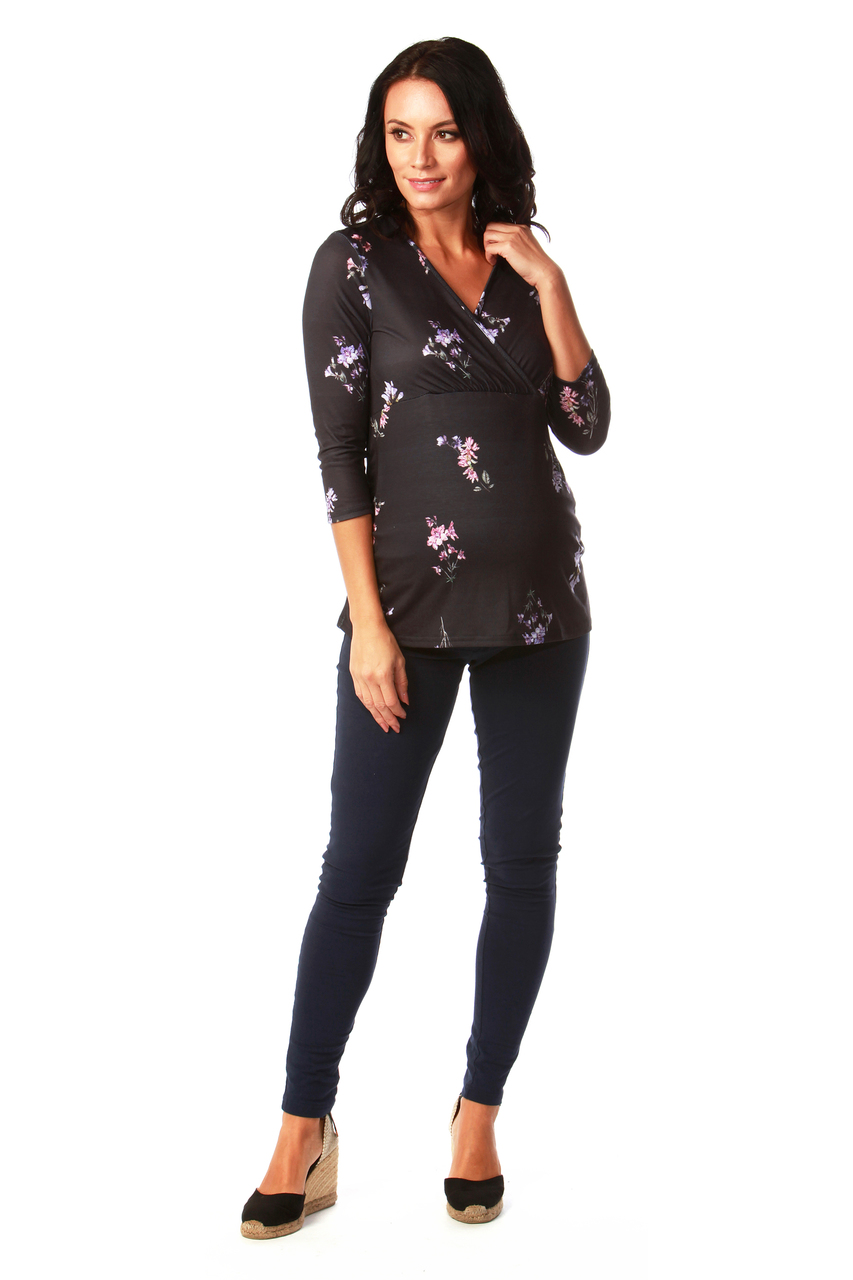 Cynthia Navy Floral Wrap Over Maternity Top