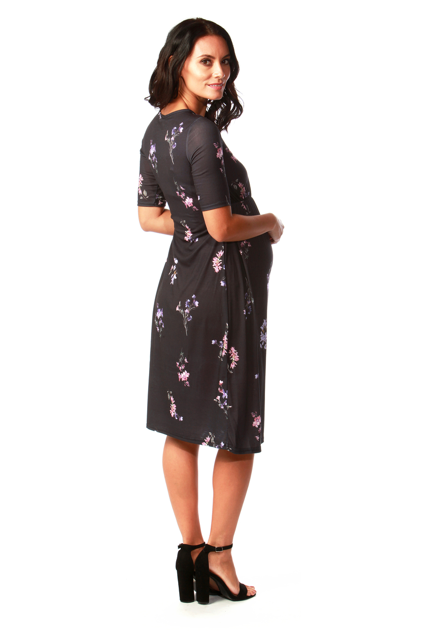 Cynthia Navy Maternity Floral Swing Dress