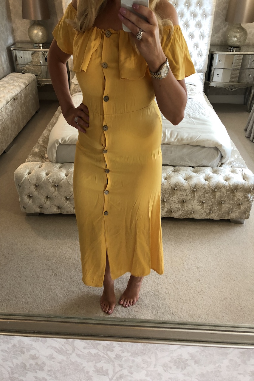 Sasha Mustard Bardot Button Dress
