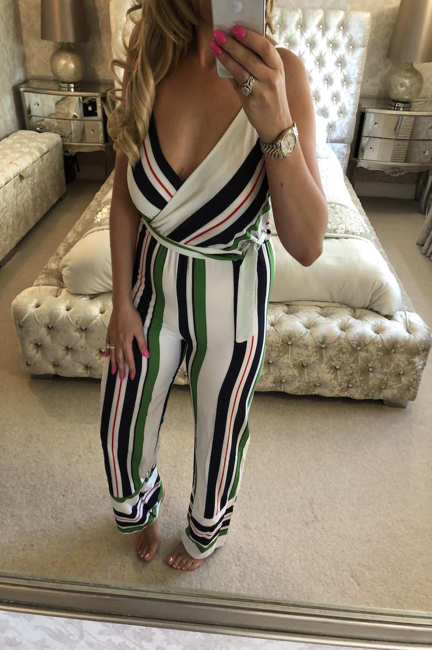 Kira Green & White Stripe Jumpsuit