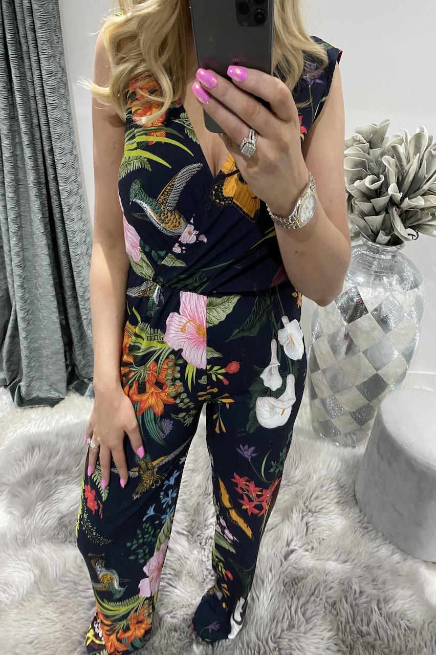 Navy Libby Floral Jumpsuit