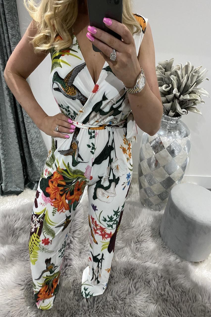 White Libby Floral Jumpsuit