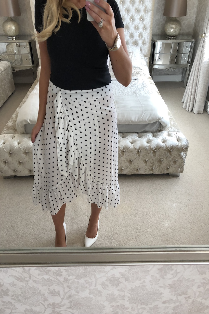 White Polka Dot Chiffon Skirt