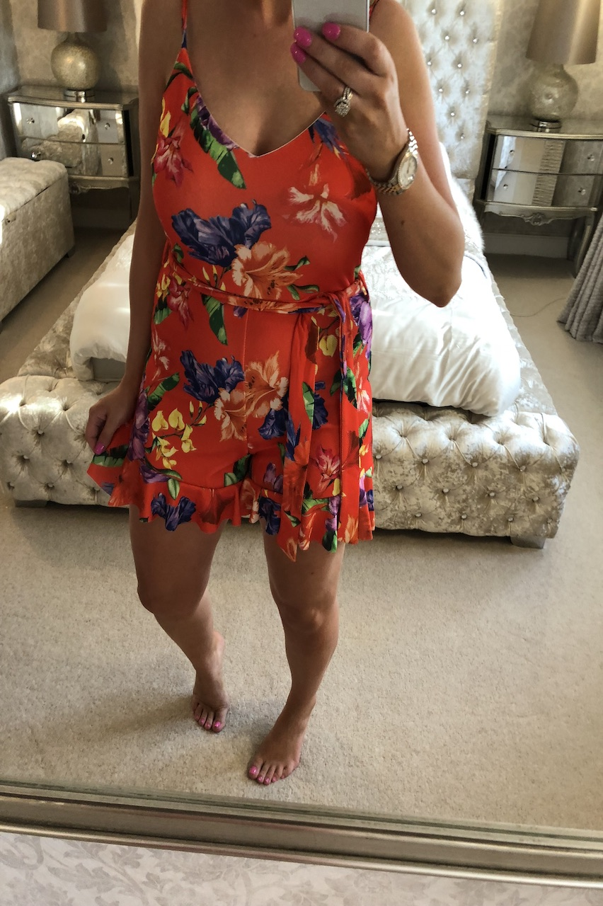 Red Courtney Floral Playsuit