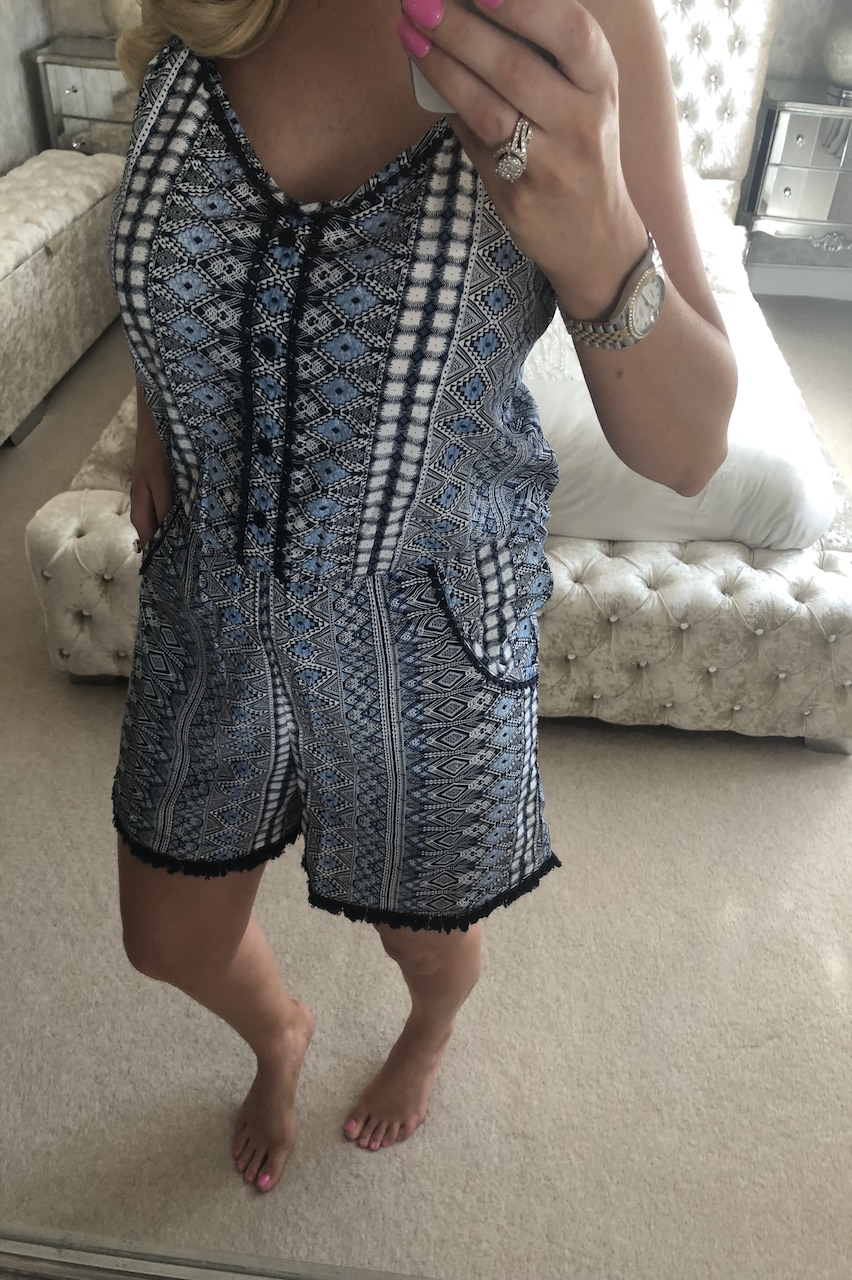 Blue Aztec Button Detail Playsuit