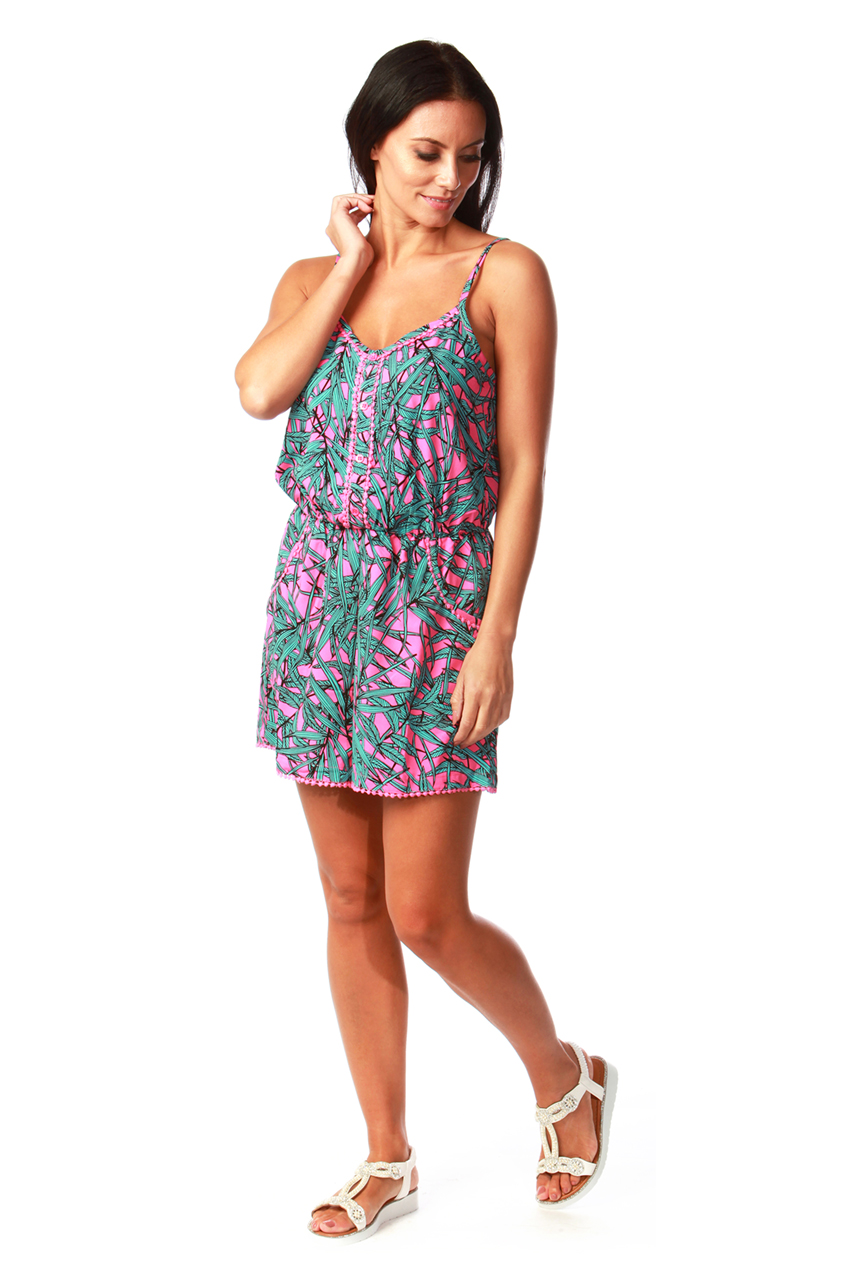 Pink Tropical Button Detail Playsuit