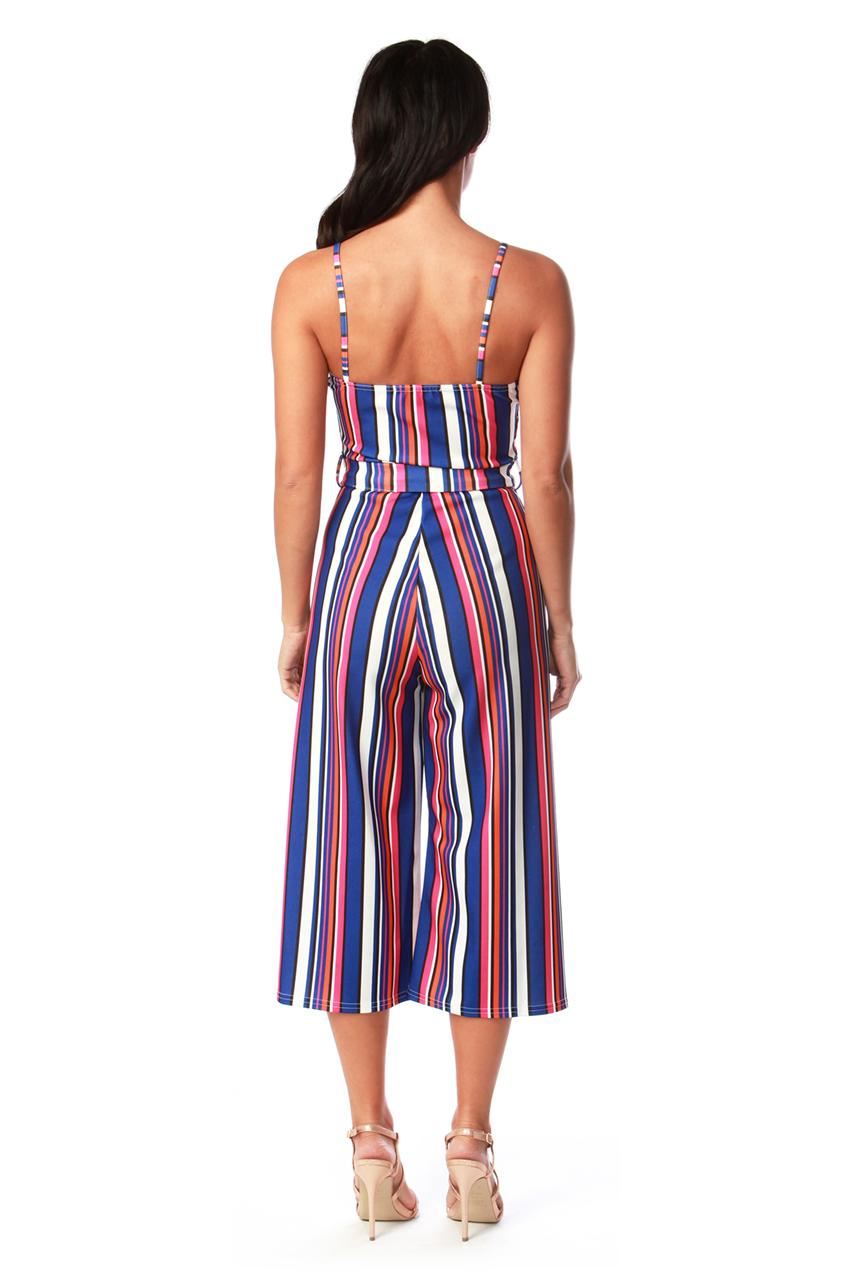 Dolores Blue Stripe Button Culotte Jumpsuit