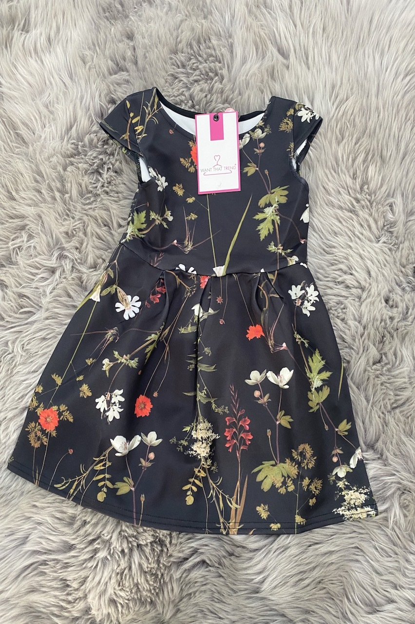 Children's Mimi Black Skater Dress