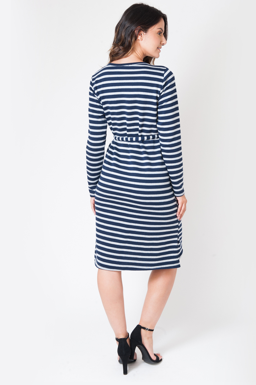 Maternity Navy & Grey Stripe Jersey Dress
