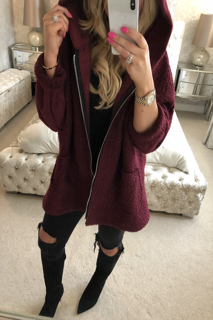 Bianca Wine Hooded Coatigan
