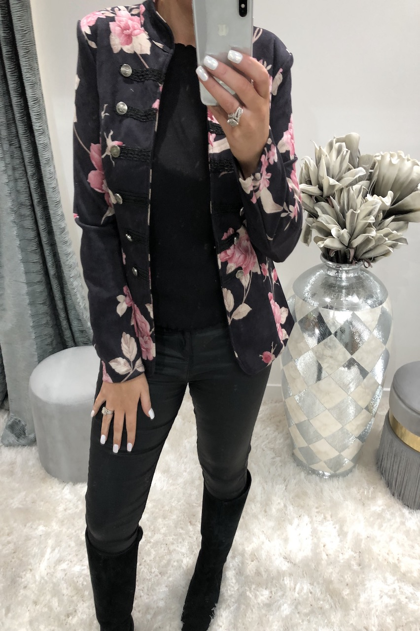 Black Riona Floral Button Blazer