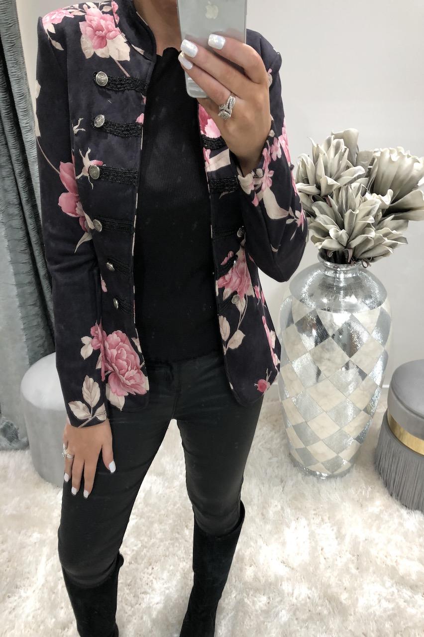 Black Riona Floral Button Blazer