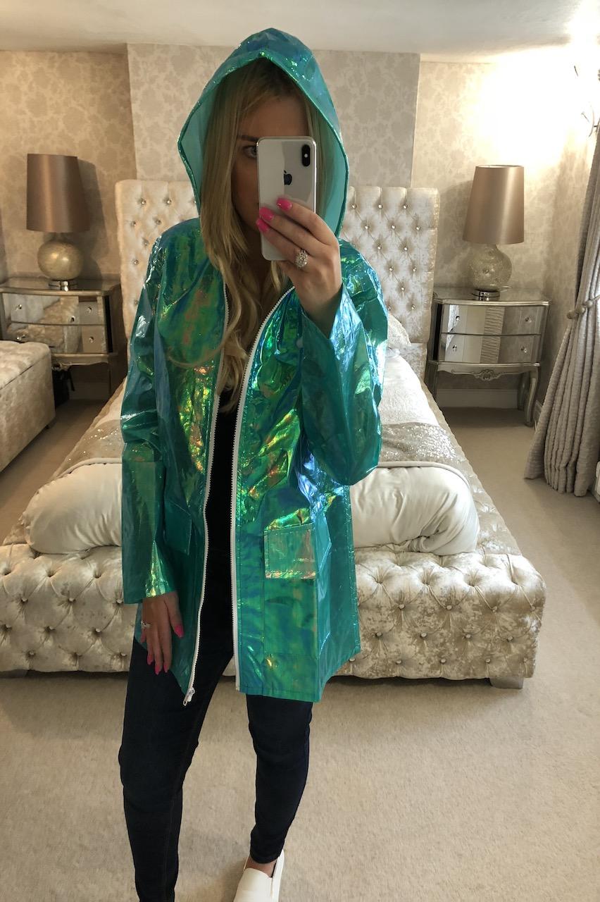 Jade Unicorn Rainbow Rain Coat