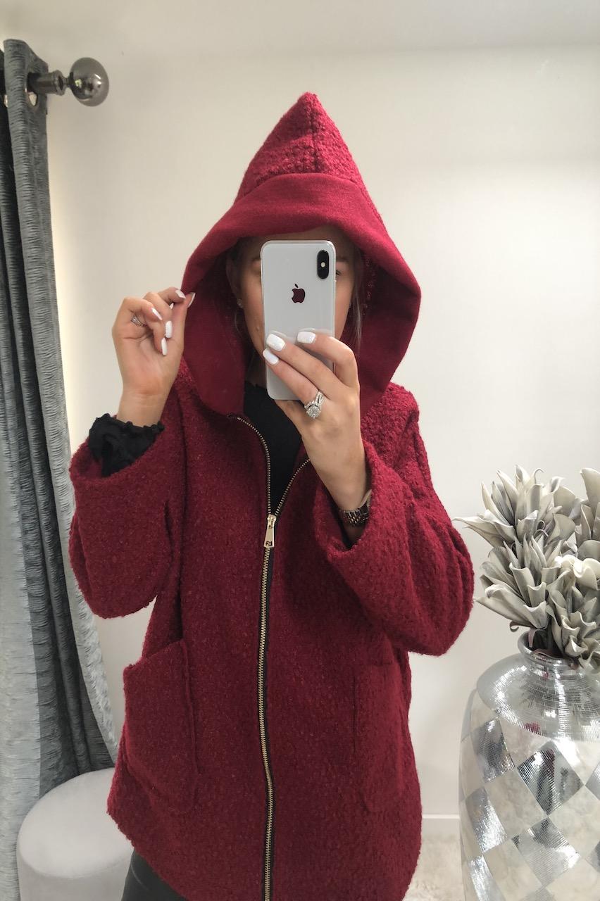 Bianca Red Hooded Coatigan