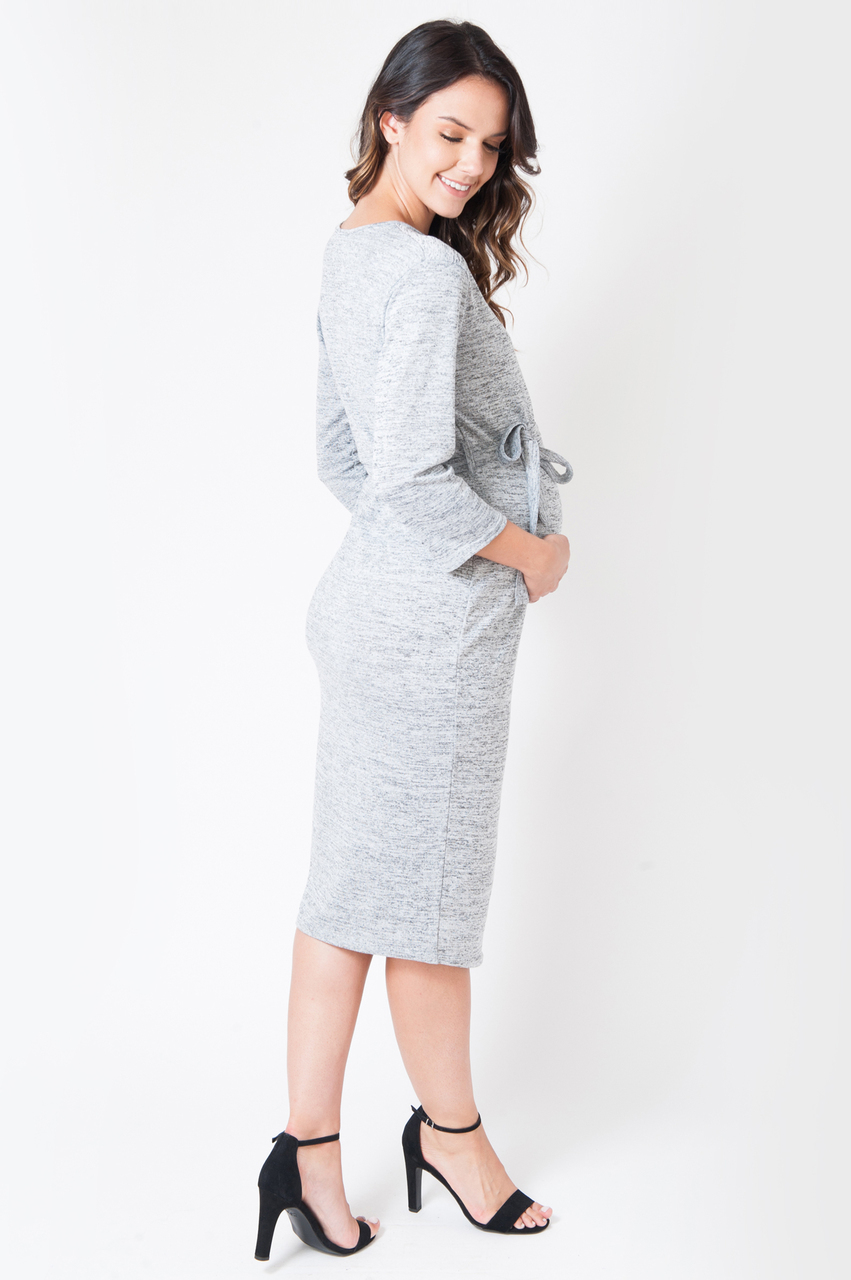 Maternity Grey Wrap Over Long Sleeve Midi Dress