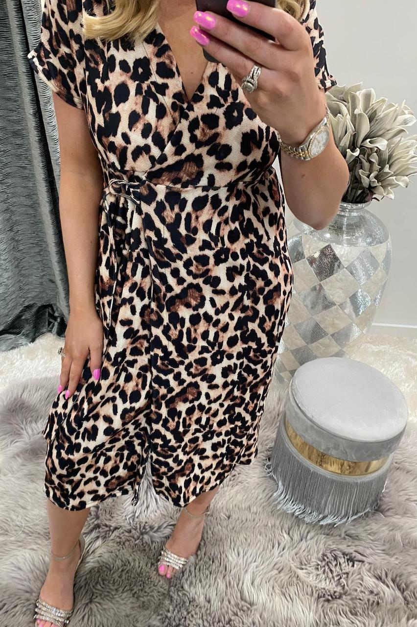Leopard Short Sleeve Wrap Over Belted Dress