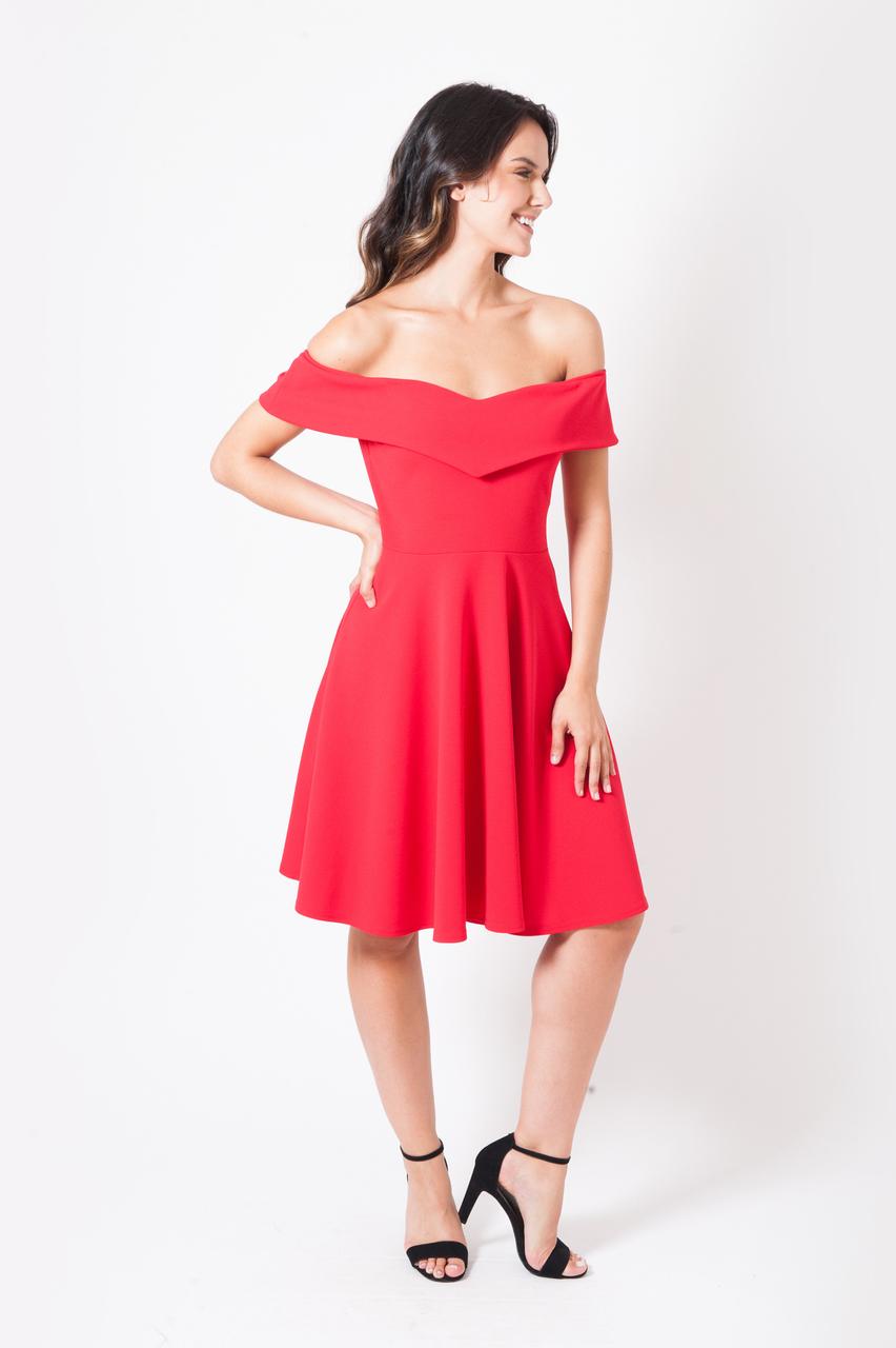 Petra Red Bardot Skater Dress
