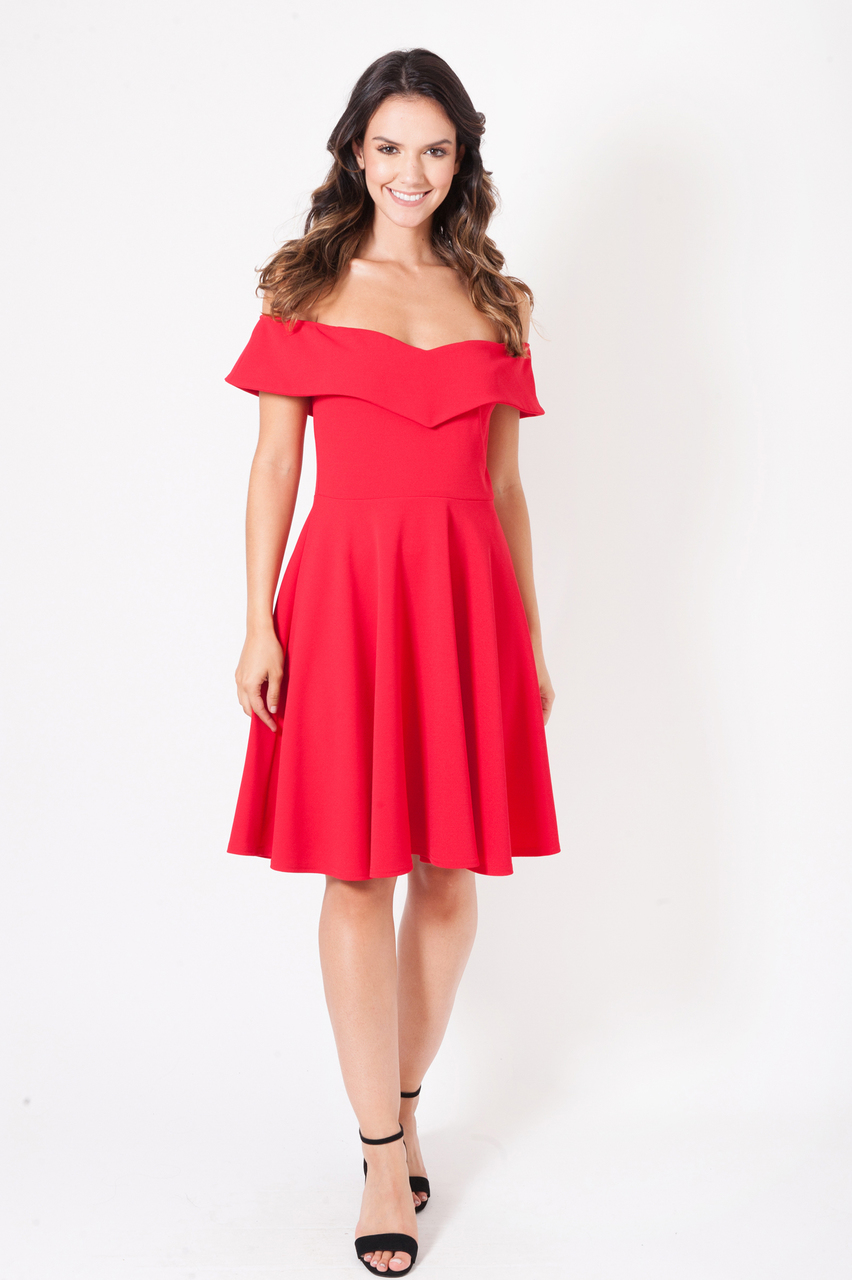 Petra Red Bardot Skater Dress