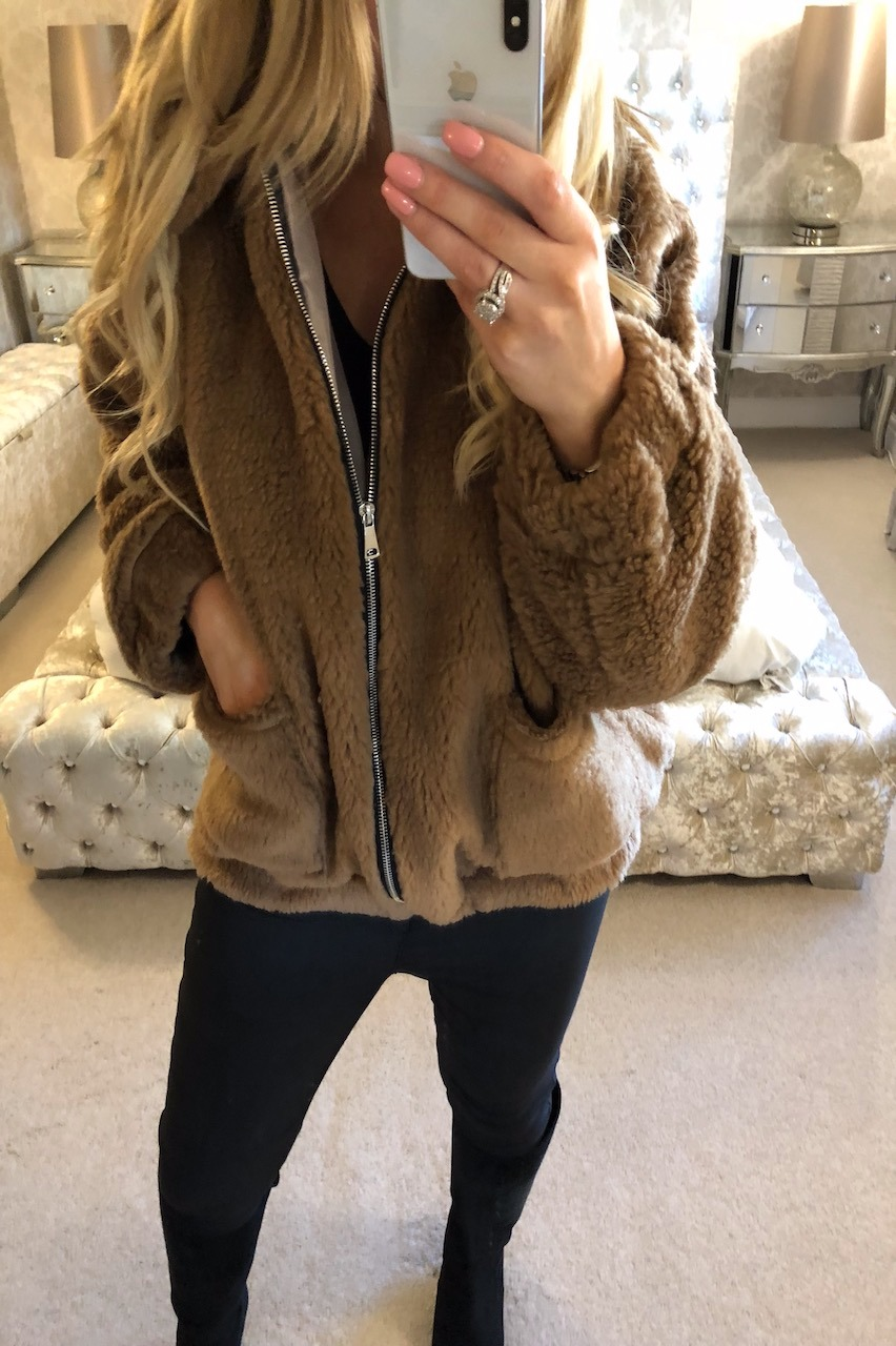 Brown Teddy Bear Biker Jacket