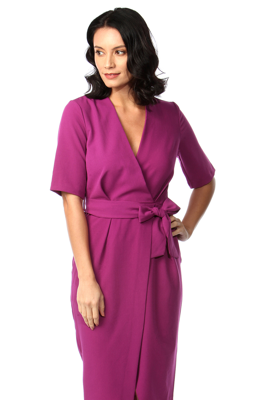 Cia Magenta Wrap Bodycon Dress