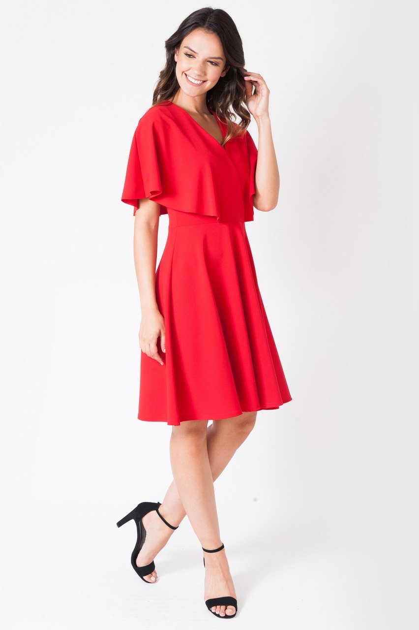 Michella Red Cape Skater Dress