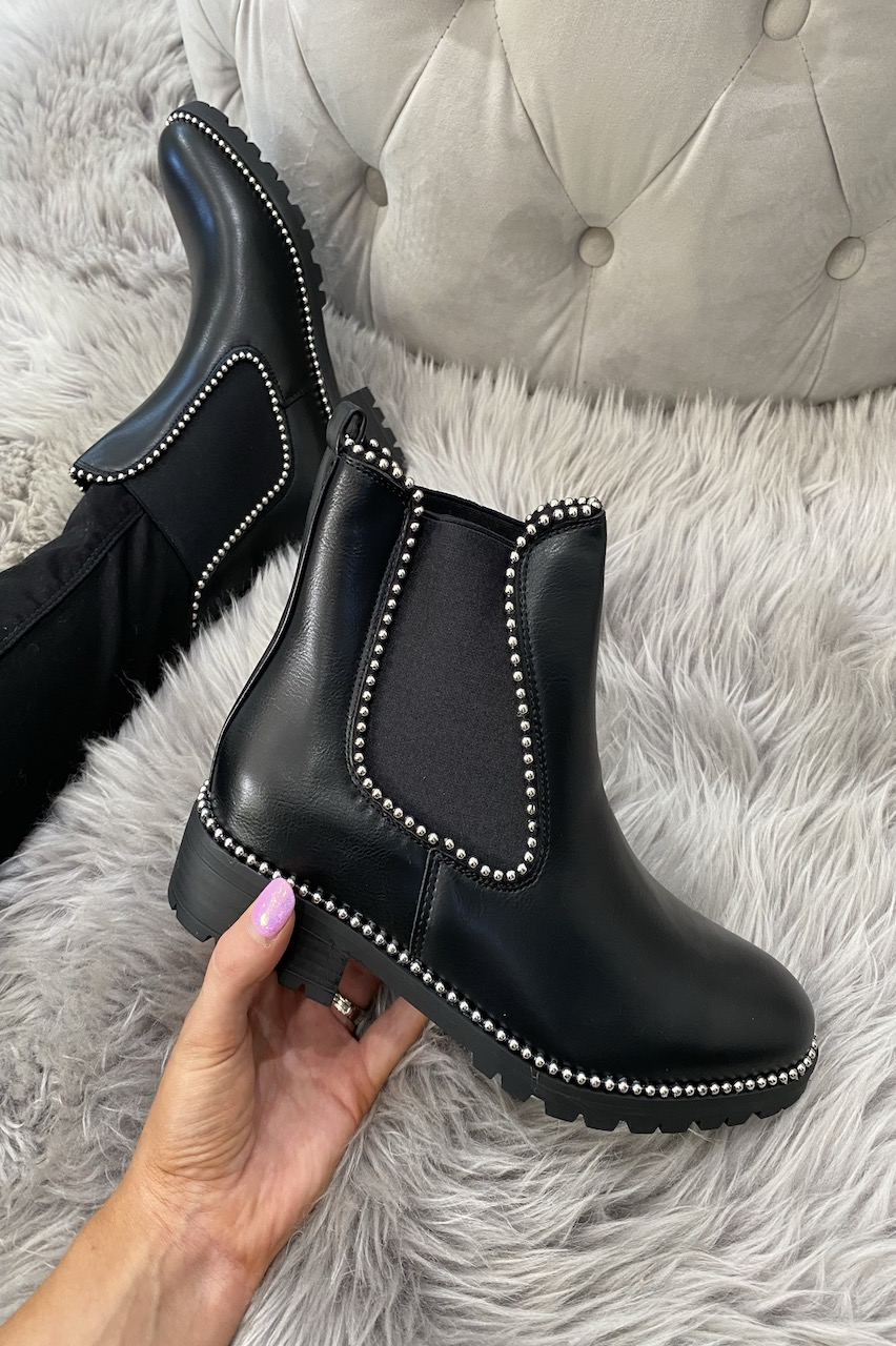 Black Chelsea Studded Ankle Boots