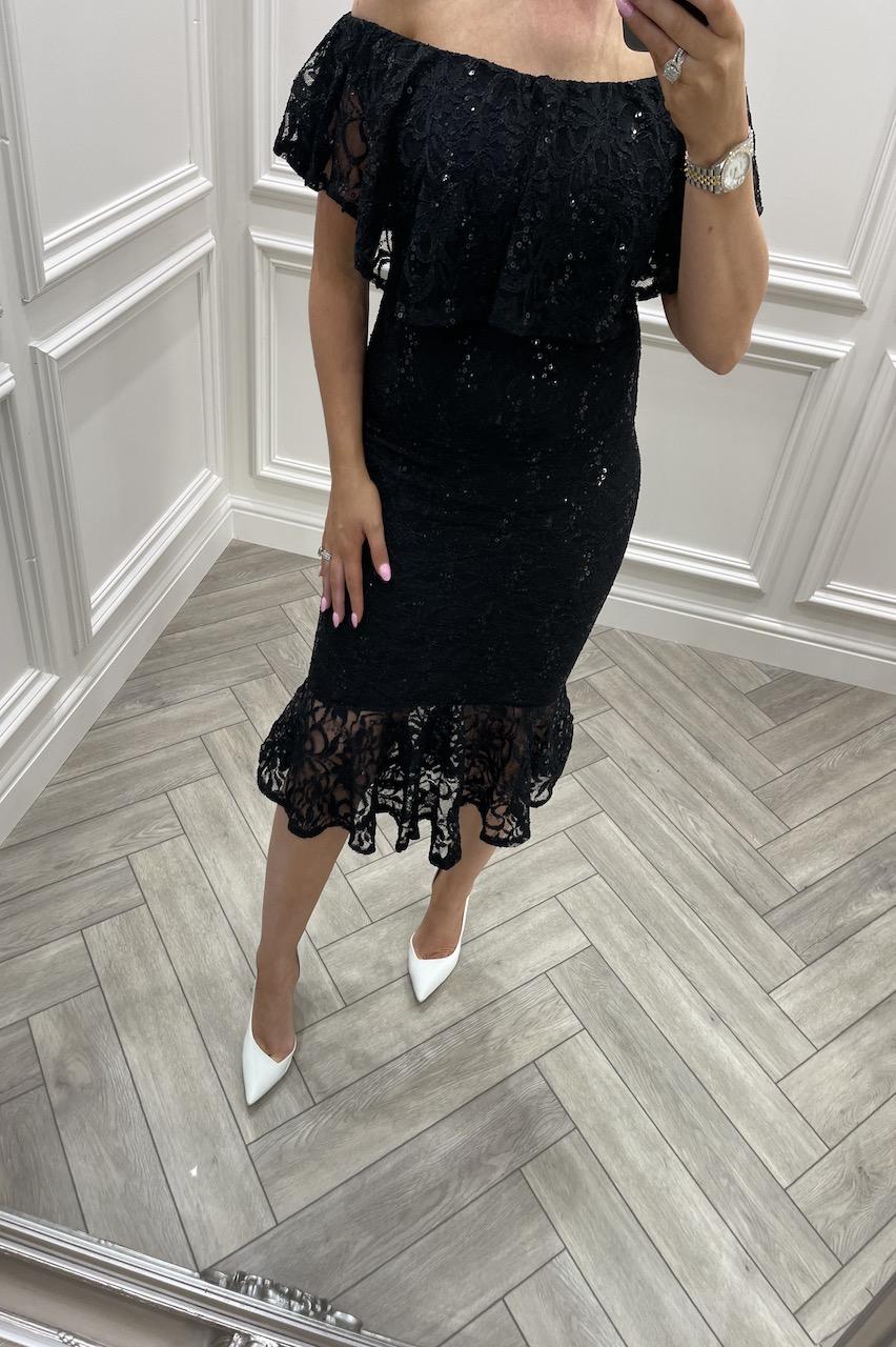 Black Bardot Frill Sequin Lace Midi Dress