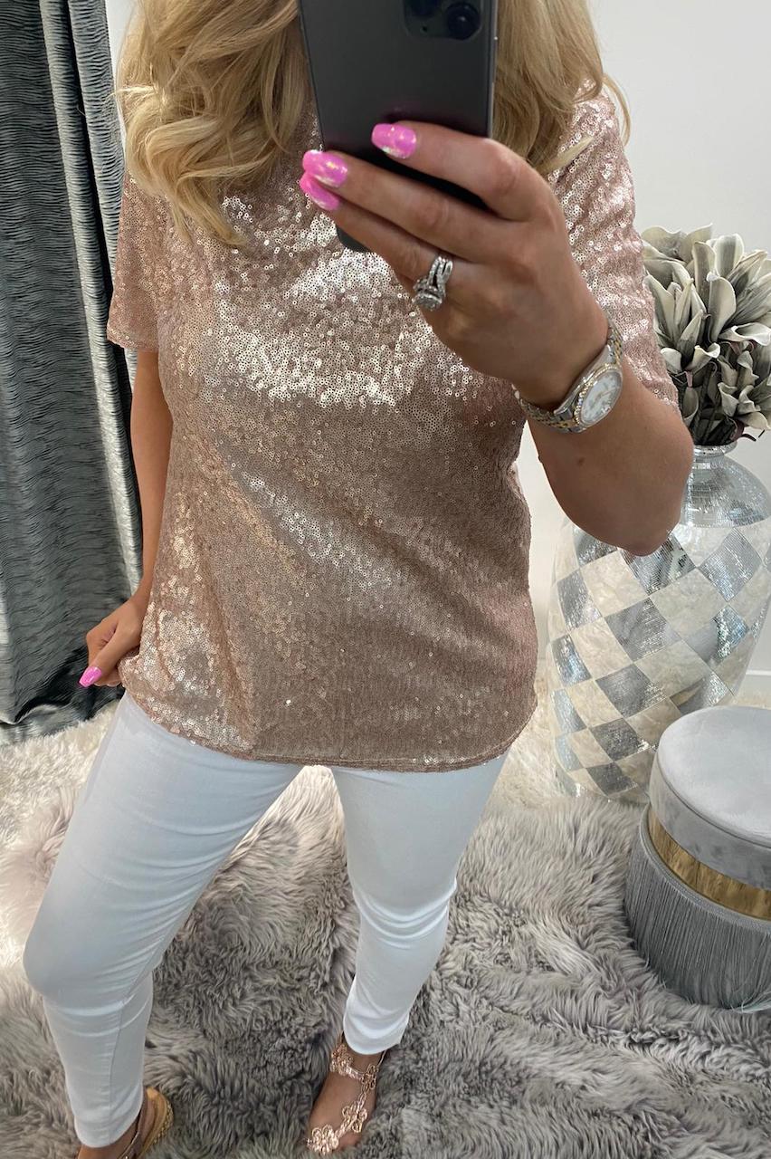 Alina Gold Sequin Top