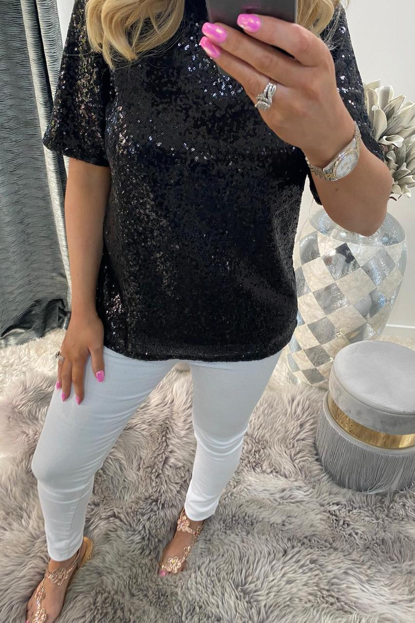 Alina Black Sequin Top