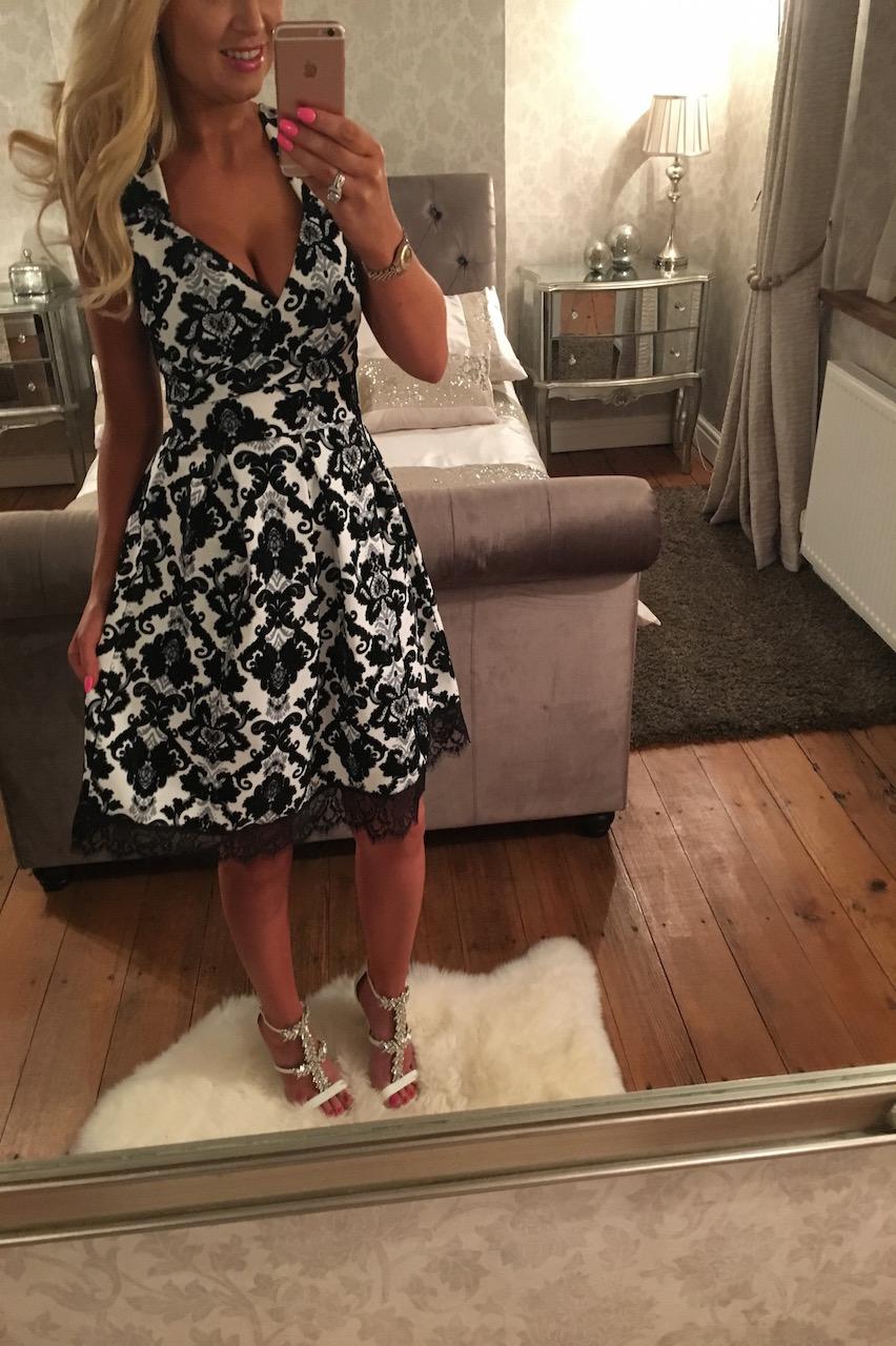 Narcia Flock Skater Dress