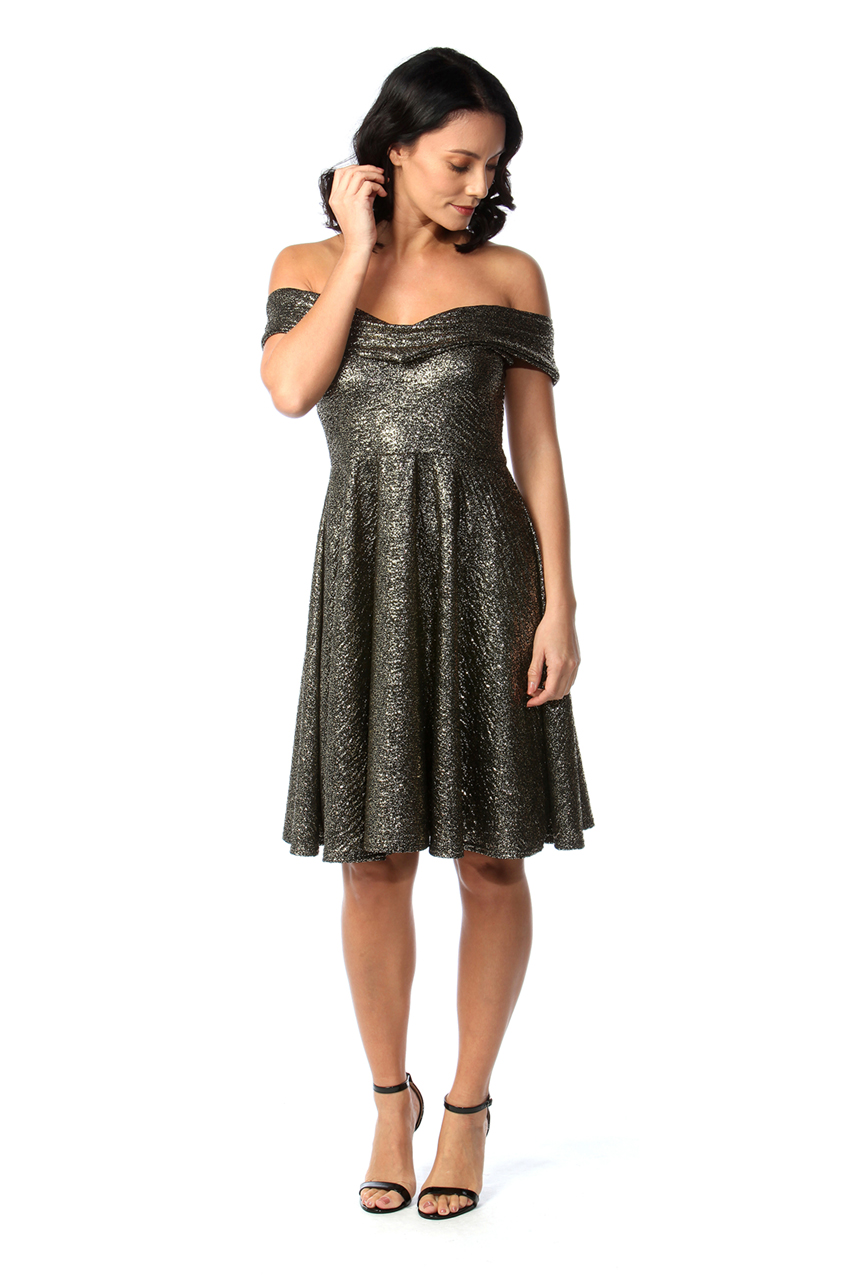 Gold Shimmer Bardot Skater Dress