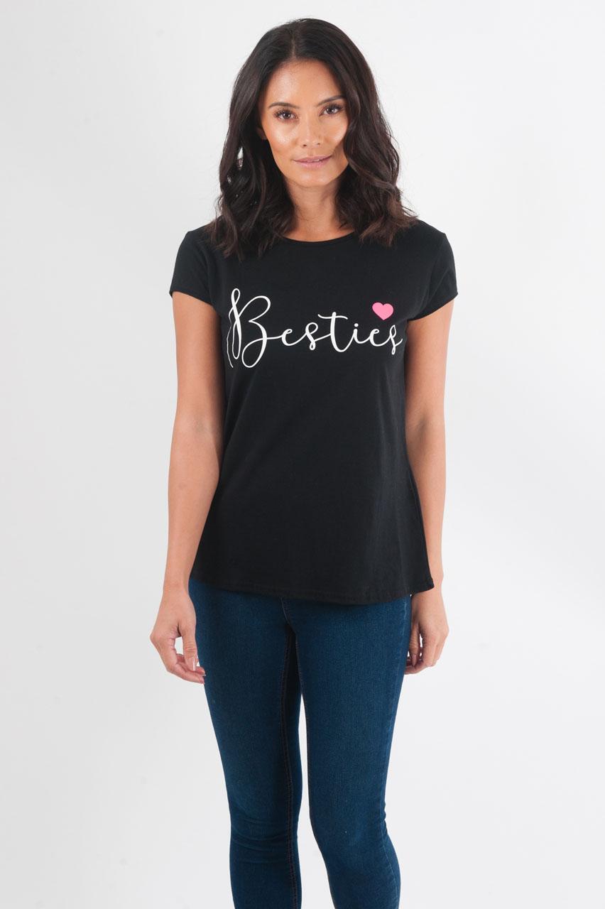 "Matching Adults ""Besties"" Black T-shirt"