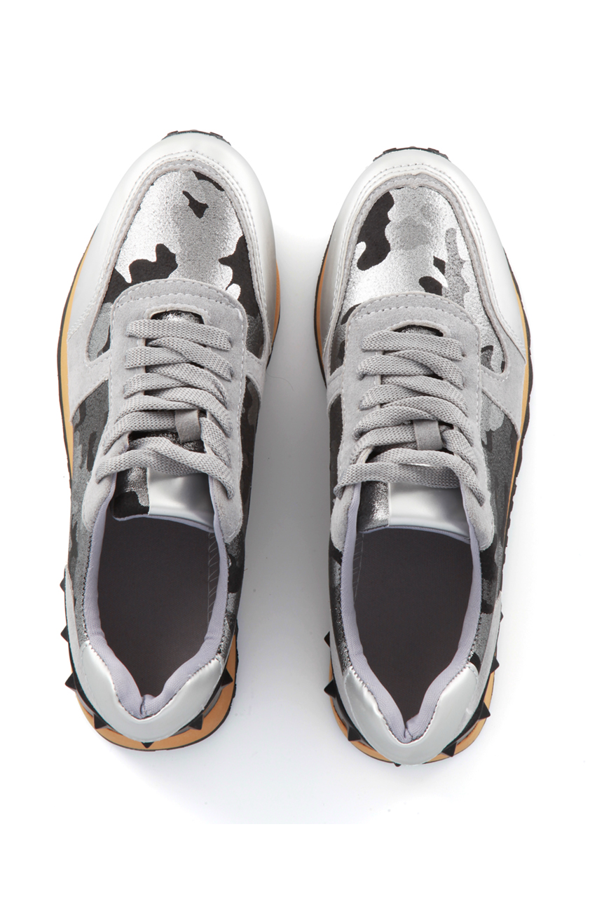 Silver Camo Studded Trainers