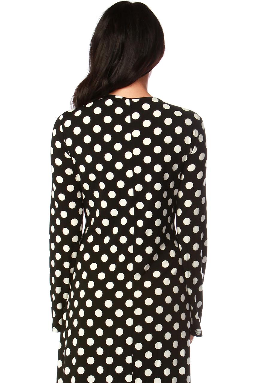 Black and White Polka Dot Wrap Maxi Dress