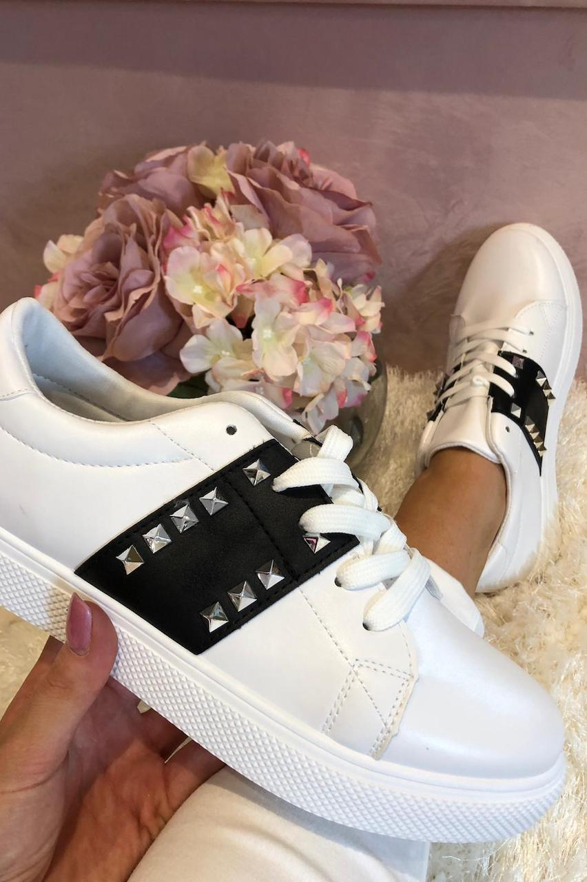 White Caliste Trainers with Black Stripe