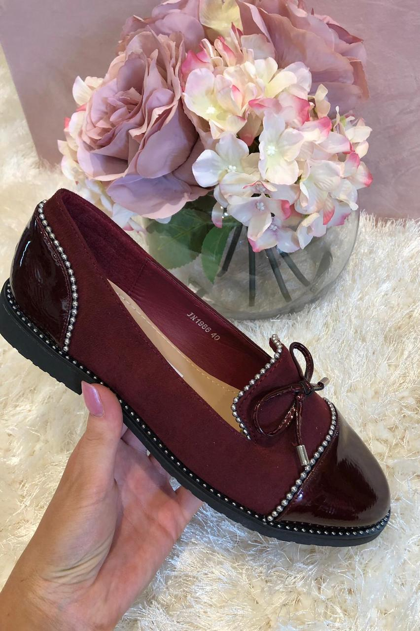 Wine Suede and Patent Bow Loafers